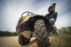 Racing ATV is sand. Stock Images