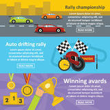 Racing auto banner horizontal set, flat style Stock Photos
