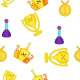 Racing awards pattern, cartoon style Royalty Free Stock Images