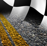 Racing background. Flag and road Stock Image