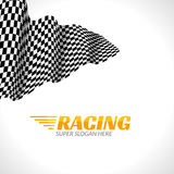 Racing background with race flag, vector sport design banner or poster Royalty Free Stock Images