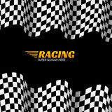 Racing background with race flag, vector sport design banner or poster Stock Photography