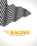 Racing background with race flag, vector sport design banner or poster Stock Photos
