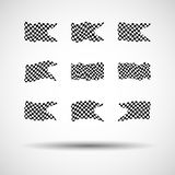 Racing background set collection of 9 checkered flags  illustration. EPS10.  Stock Photography