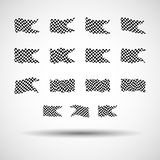 Racing background set collection of 15 checkered flags  illustration. EPS10.  Royalty Free Stock Photos