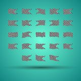 Racing background set collection of 23 checkered flags  illustration. EPS10.  Stock Image