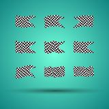 Racing background set collection of 9 checkered flags  illustration. EPS10.  Royalty Free Stock Photo