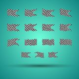 Racing background set collection of 15 checkered flags  illustration. EPS10.  Stock Photos
