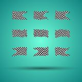 Racing background set collection of 9 checkered flags  illustration. EPS10.  Stock Images