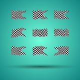 Racing background set collection of 9 checkered flags  illustration. EPS10.  Royalty Free Stock Images