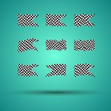 Racing background set collection of 9 checkered flags  illustration. EPS10.  Royalty Free Stock Photos