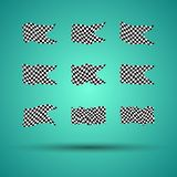 Racing background set collection of 9 checkered flags  illustration. EPS10.  Royalty Free Stock Image