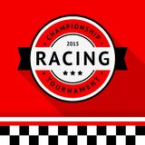 Racing badge 04. Racing badge on a red background Royalty Free Stock Image