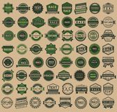 Racing badges - vintage style, big green set Royalty Free Stock Images