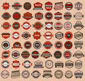 Racing badges - vintage style, big set. Vector illustration Royalty Free Stock Images