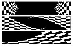 Racing banner. Black racing banner with checkered flag Stock Photo