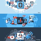 Racing Banner Set. Racing horizontal banner set with win and pit stop elements isolated vector illustration Royalty Free Stock Photos