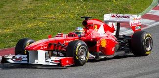 Racing in Barcelona circuit Stock Photos