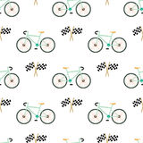 Racing bicycles seamless pattern with Checkered Flags Finish  Royalty Free Stock Image