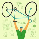 Racing bicyclist with equipment Royalty Free Stock Image