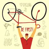 Racing bicyclist with equipment. Racing cyclist champion holding his bicycle with hand drawn bicycle equipment on background. Editable vector illustration Royalty Free Stock Photos
