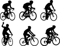 Racing bicyclists silhouettes collection stock illustration