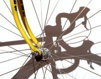 Racing bike. Wheel with shadow of the racing bike Stock Photography