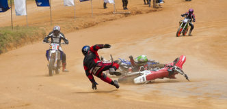 Racing bike accident Royalty Free Stock Photo