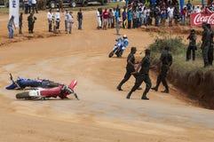 Racing bike accident Stock Photos