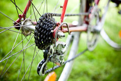 Racing bike cassette. Rear racing bike cassette on the wheel with chain stock image