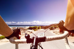 Racing Bike. Racing Driver travels along the coast Stock Photography