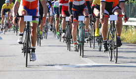 Racing bikes led by cyclists during the road race Stock Image