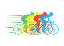 Racing bikes with riders Royalty Free Stock Photos