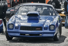 Racing blue car front view Royalty Free Stock Image