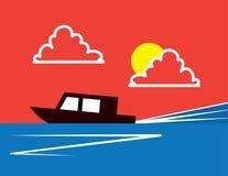 Racing Boat Speeding Stock Photography