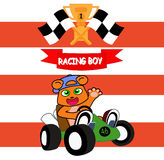 Racing Boy Championship fun cartoon. Racing boy championship design for website, company, shirt, travel, industry,drawing book Royalty Free Stock Images