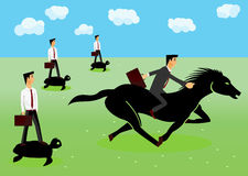 Racing - businessmen riding a horse Stock Image