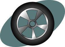 Racing car, auto or truck tire. Vector available. Illustration of a racing car, truck, or auto tire and wheel. Vector format available as EPS file Stock Image