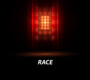 Racing car backlight. F1 spotlight. Abstract dark background. Race Track Royalty Free Stock Photography