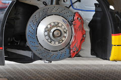 Racing car brake rotor Royalty Free Stock Images