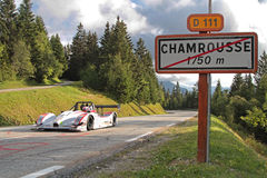 Racing car in Chamrousse. CHAMROUSSE, FRANCE, AUGUST 23, 2014 : Training for the annual uphill race of Chamrousse. Hillclimbing is a branch of motorsport in Royalty Free Stock Images