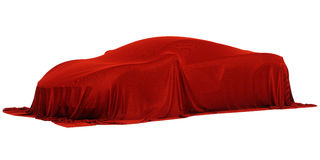 Racing car covered. New racing design car covered with red cloth. 3d rendering illustration Stock Photos