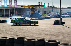 Racing car on drift contest Royalty Free Stock Image