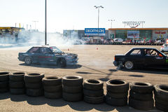 Racing car in drift contest Royalty Free Stock Images