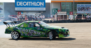 Racing car in drift contest Royalty Free Stock Photos