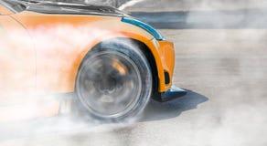 Racing car drift  on race track. Close up Racing car drift  on race track royalty free stock images