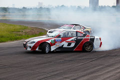 Racing car of E.Satyukov in curve on track Stock Photography