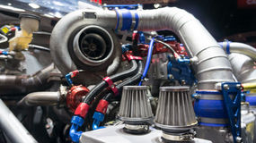 Racing car engine. Modify show Royalty Free Stock Images