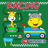 Racing car funny animal cartoon. Animal cartoon design for t-shirt,vector illustration art,new design,funny animal cartoon Stock Photos