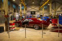 Fast & Furious garage in Universal Orlando, FL, USA. Racing Car in garage in Fast & Furious: Supercharged at Universal Studios Park in Orlando, Florida, USA royalty free stock images